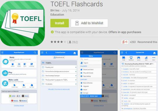toefl flashcard